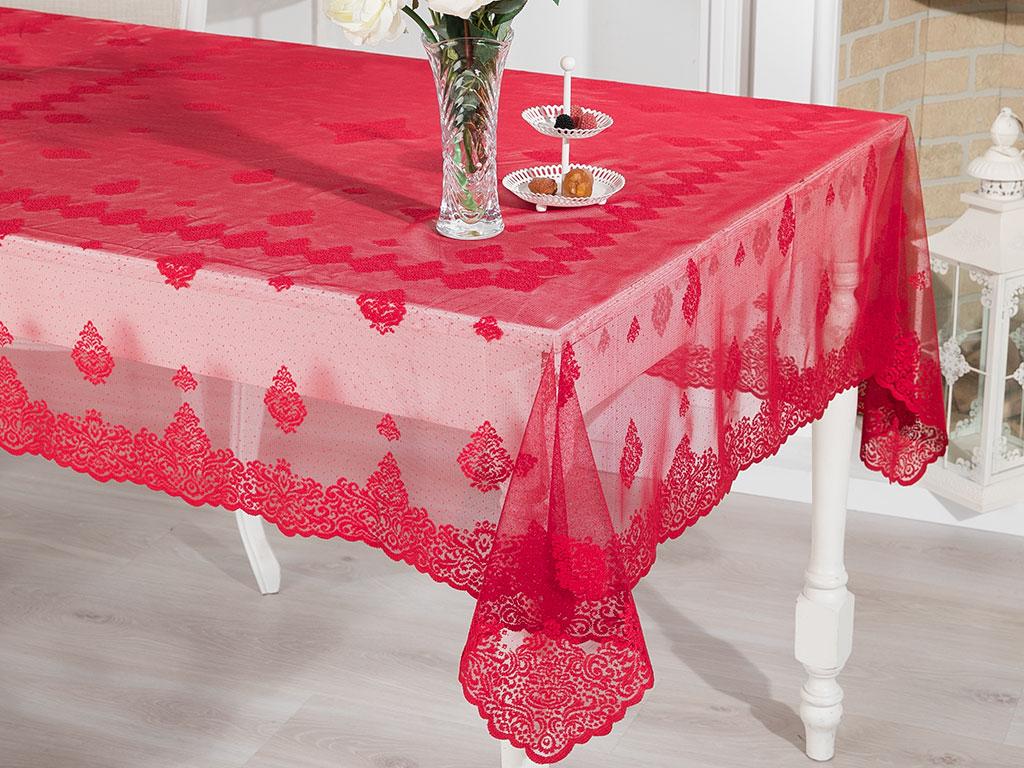 Royal Damask Örme Masa Örtüsü 95x95 Cm Kırmızı