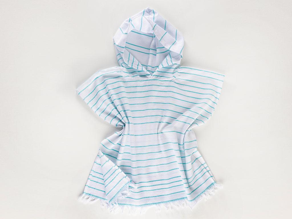 Summer Stripe Peştamal Çocuk Panço 5-6 Yaş Mavi