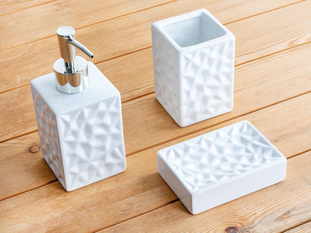 Mia Seramik Banyo Setı 7x7x10 Cm Beyaz