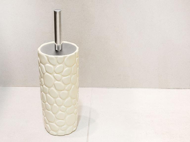 Stone Seramik Tuvalet Fırçalığı 10x10x23 Cm Bej