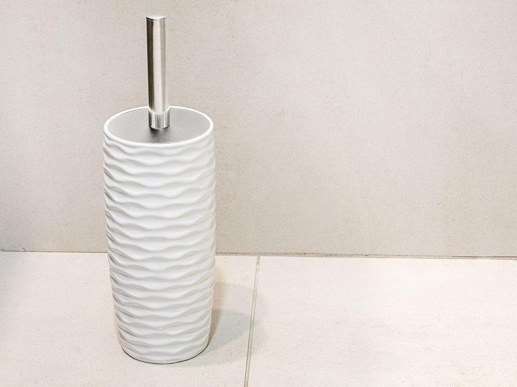 Sea Waves Seramik Tuvalet Fırçalığı 10x10x23 Cm Beyaz