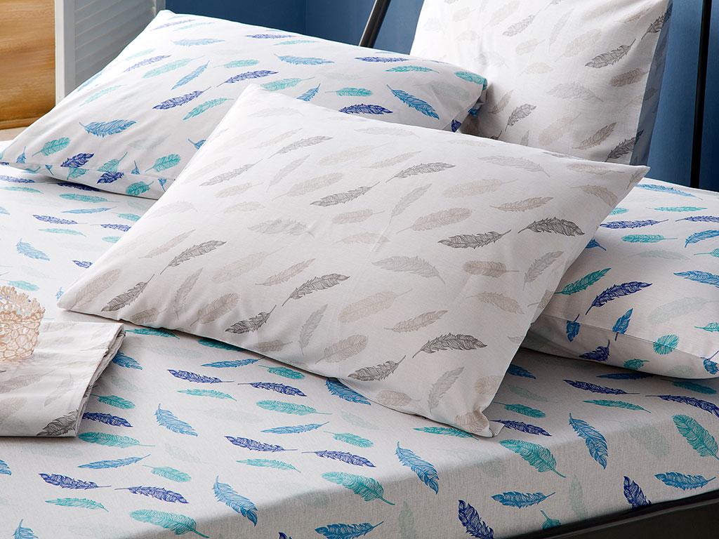 Feathers Pamuk Tek Kişilik Lastıklı Çarşaf Tkm 100x200 Cm Seledon - Mavi