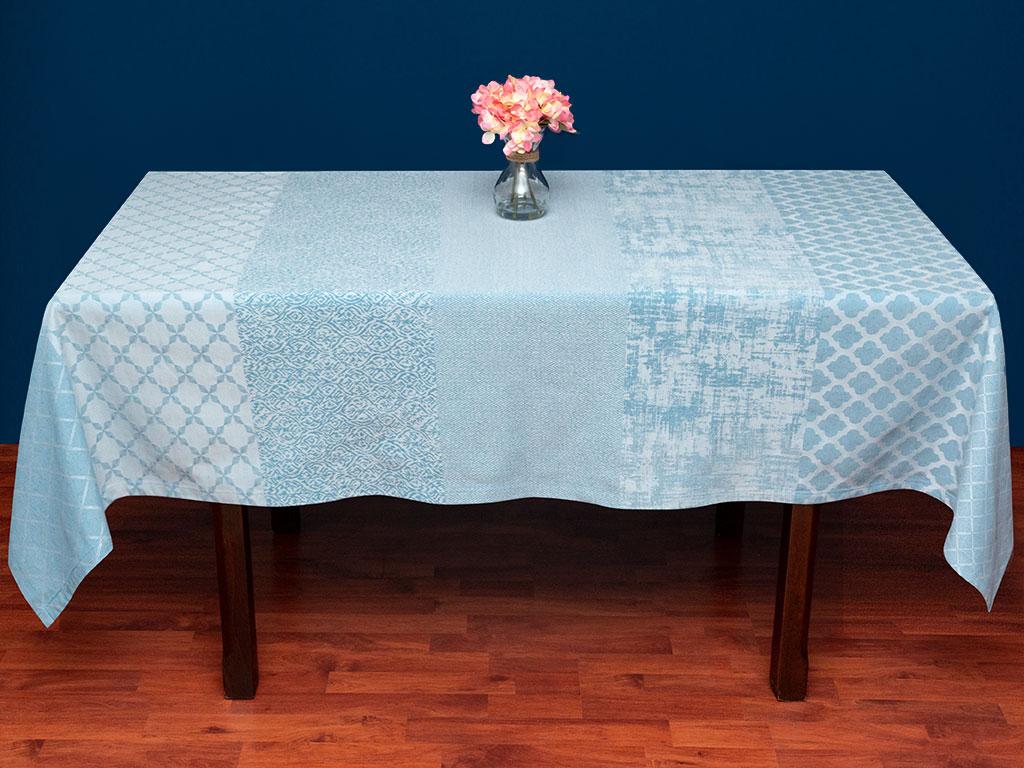 Modena Pamuklu Masa Örtüsü 150x200 Cm Açık Mavi