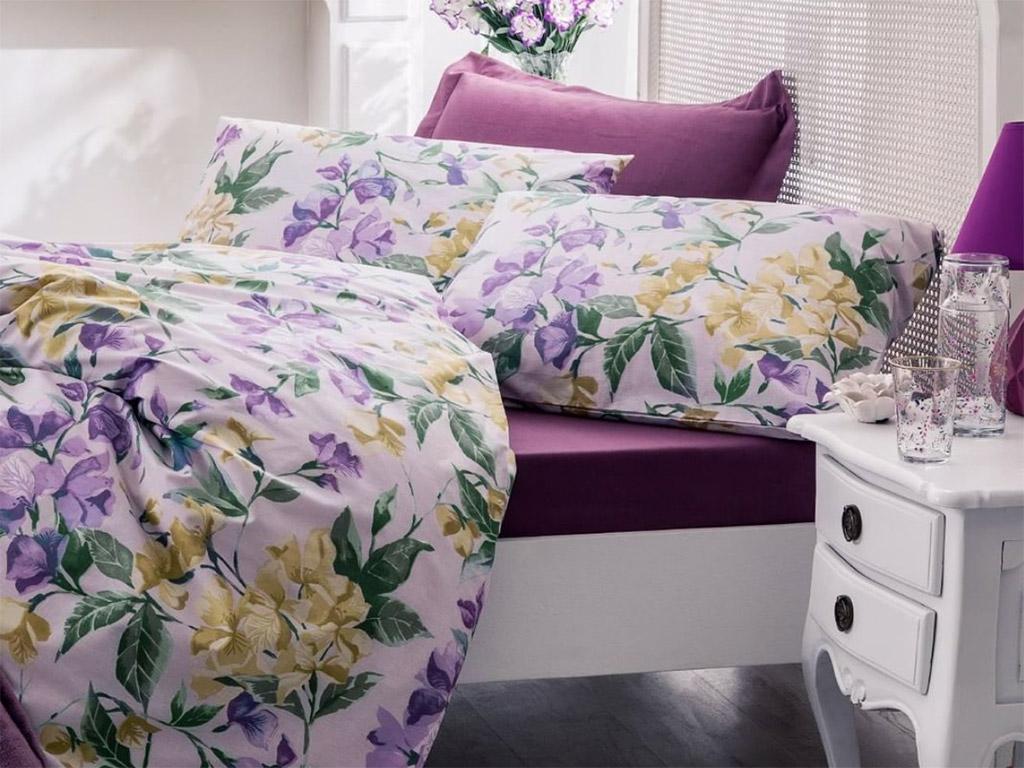 Iris Flower Pamuklu Çift Kişilik Nevresım 200x220 Cm Mor