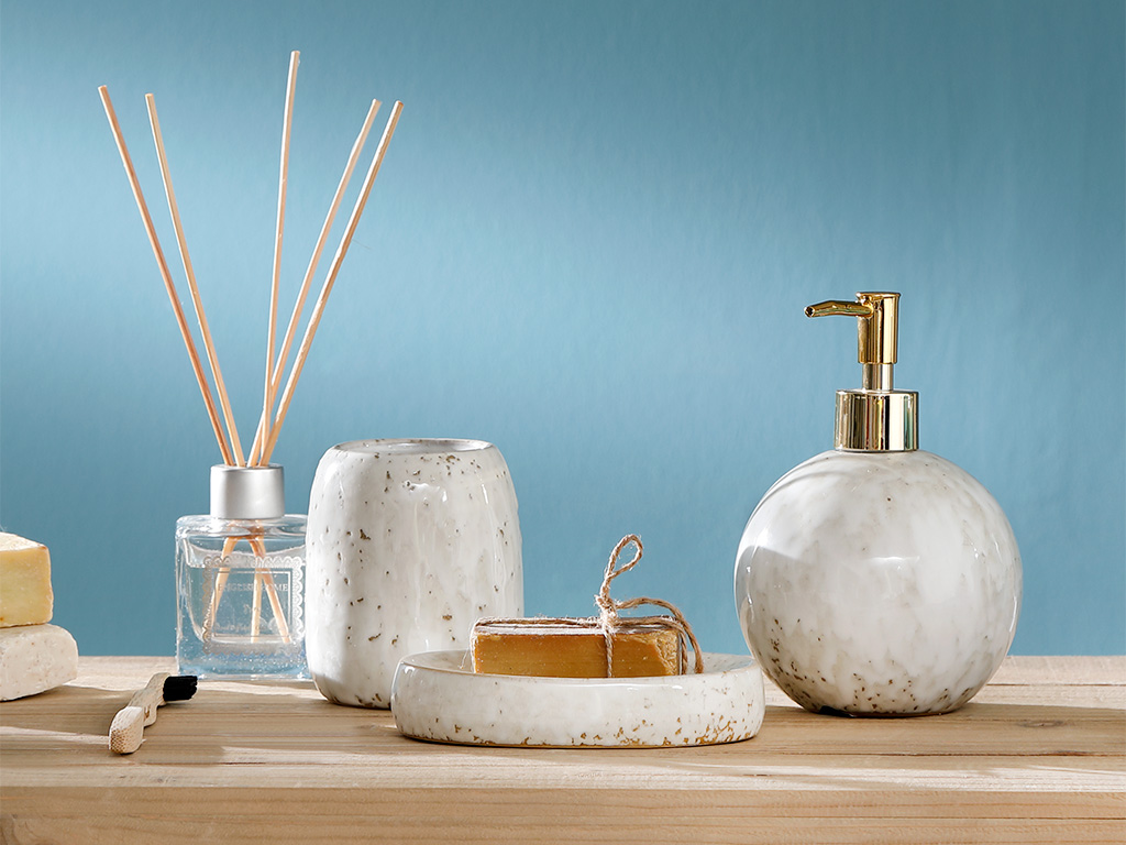 Vanity Stoneware Banyo Setı 11x8,4x13,7 Cm Açık Gri