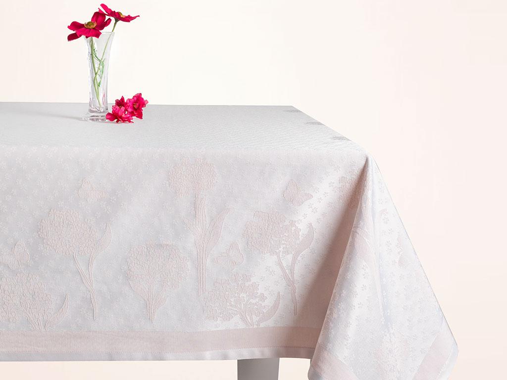 Hortensia Pamuk Polyester Desenli Masa Örtüsü 160x200 Cm Pembe