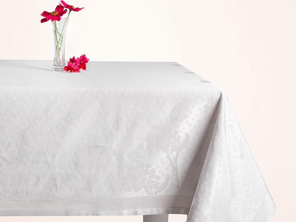 Hortensia Pamuk Polyester Desenli Masa Örtüsü 160x200 Cm Gri