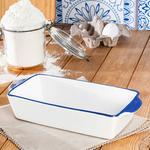 Vanity Porselen Kare Fırın Kabı 25x24 Cm Beyaz - Mavi