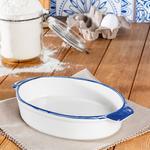 Modest Porselen Oval Küçük Fırın Kabı 25x15 Cm Beyaz - Mavi