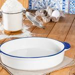Modest Porselen Büyük Oval Fırın Kabı 30x9 Cm Beyaz - Mavi