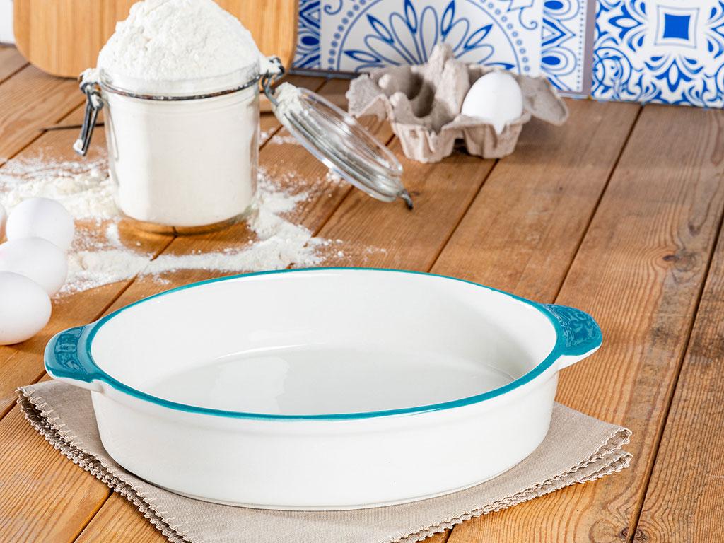 Modest Porselen Büyük Oval Fırın Kabı 30x9 Cm Beyaz - Yeşil