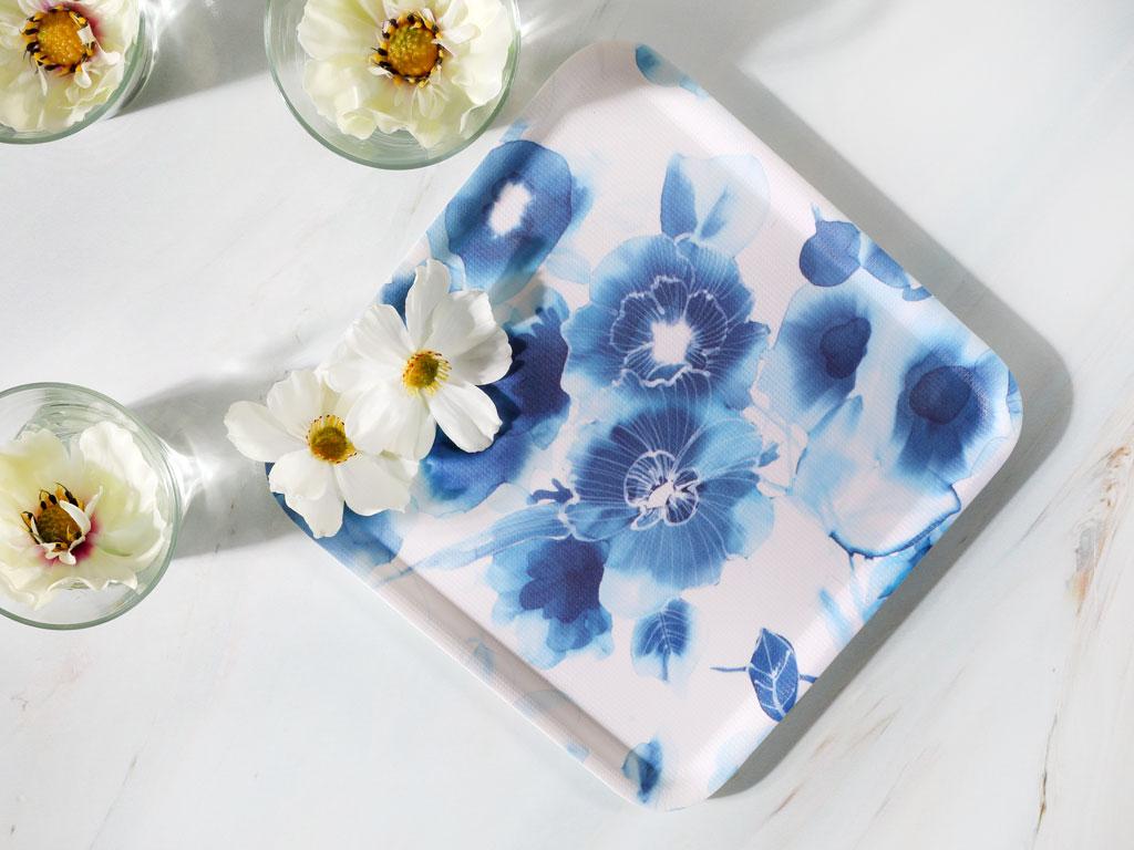 Blue Rose Melamin Kaydırmaz Tepsı 24x24 Cm Mavi - Lacivert