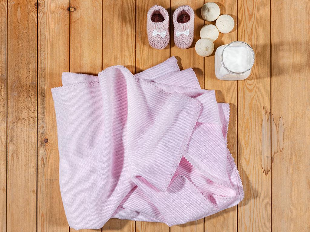 Softy Baskılı Kopanakili Bebe Örtü 100x150 Cm Pembe