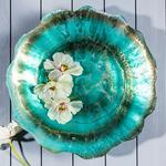 Lotus Dekoratif Tabak 40 Cm Turkuaz