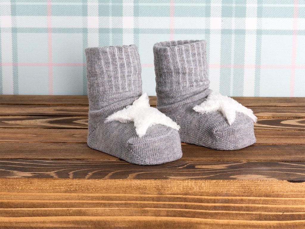 Star Pamuk Bebe Çorap 0-3 Ay Gri