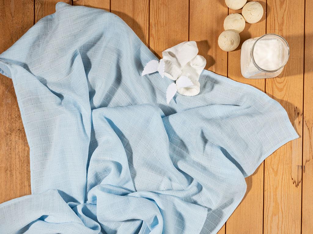 Softy Düz Tekli Bebe Örtü 90x90 Cm Mavi
