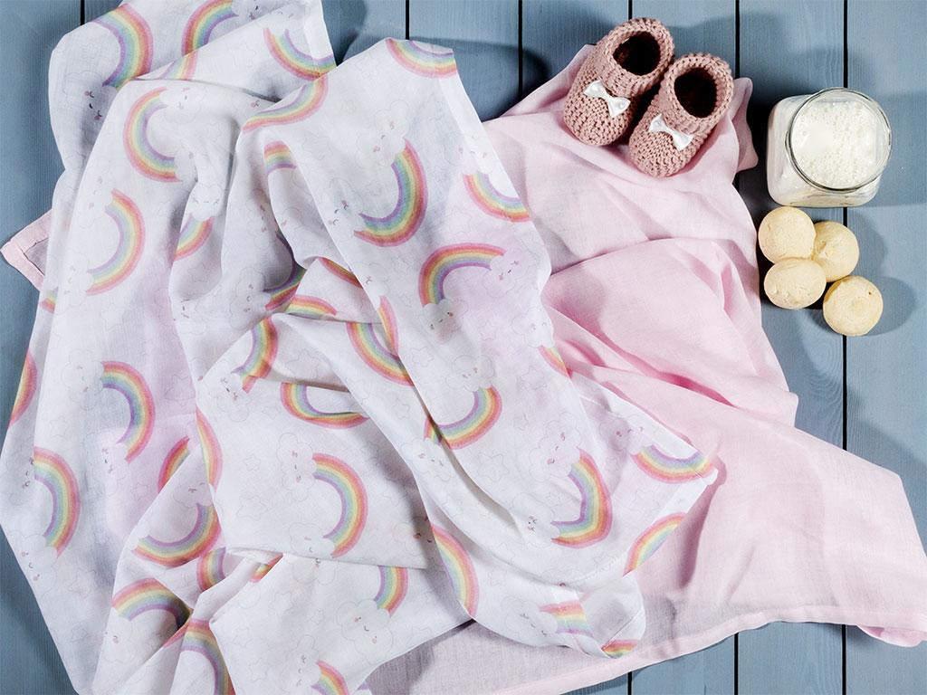 Little Rainbow Baskılı 2'li Bebe Örtü 100x100 Cm Pembe