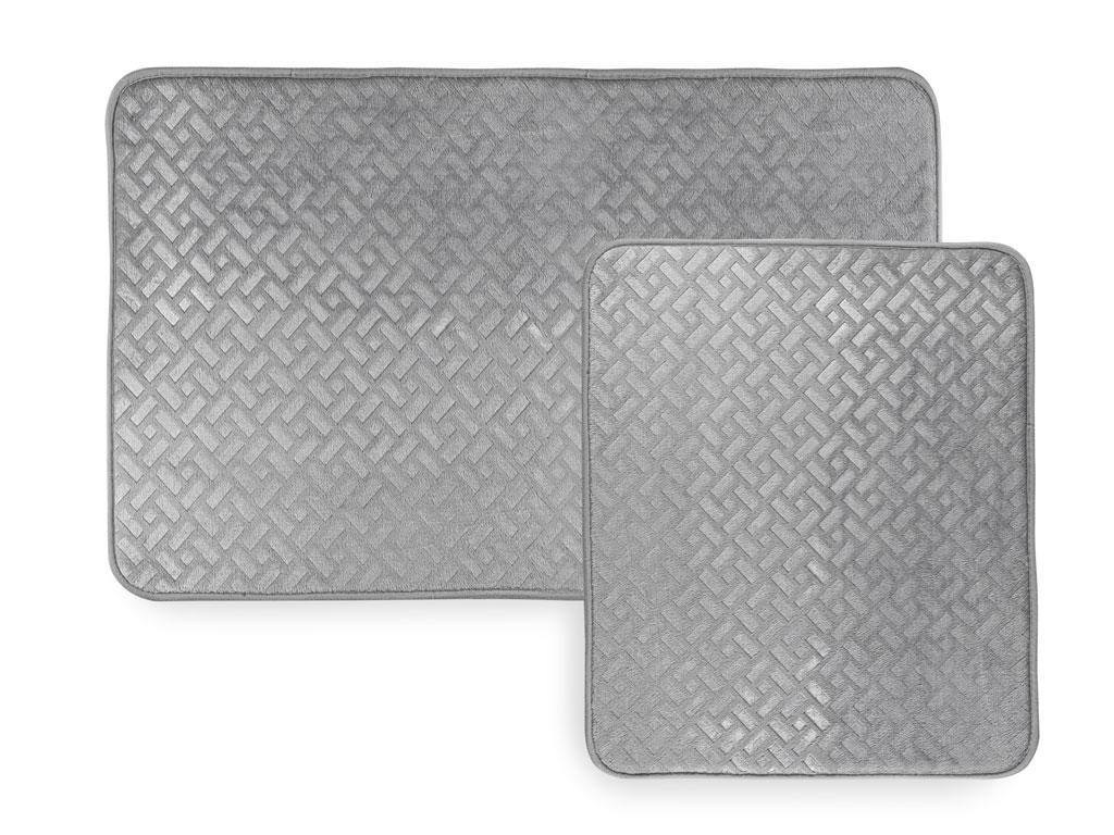 Stone Sıcak Baskı 2'li Banyo Paspası Seti 60x90 Cm + 50x60 Cm Açık Gri