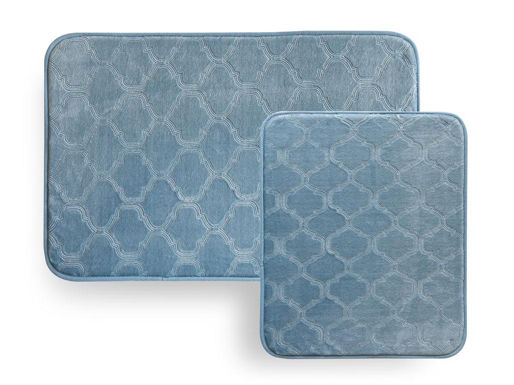 Elegance Damask Sıcak Baskı 2'li Banyo Paspası Seti 60x90 Cm + 50x60 Cm Mavi