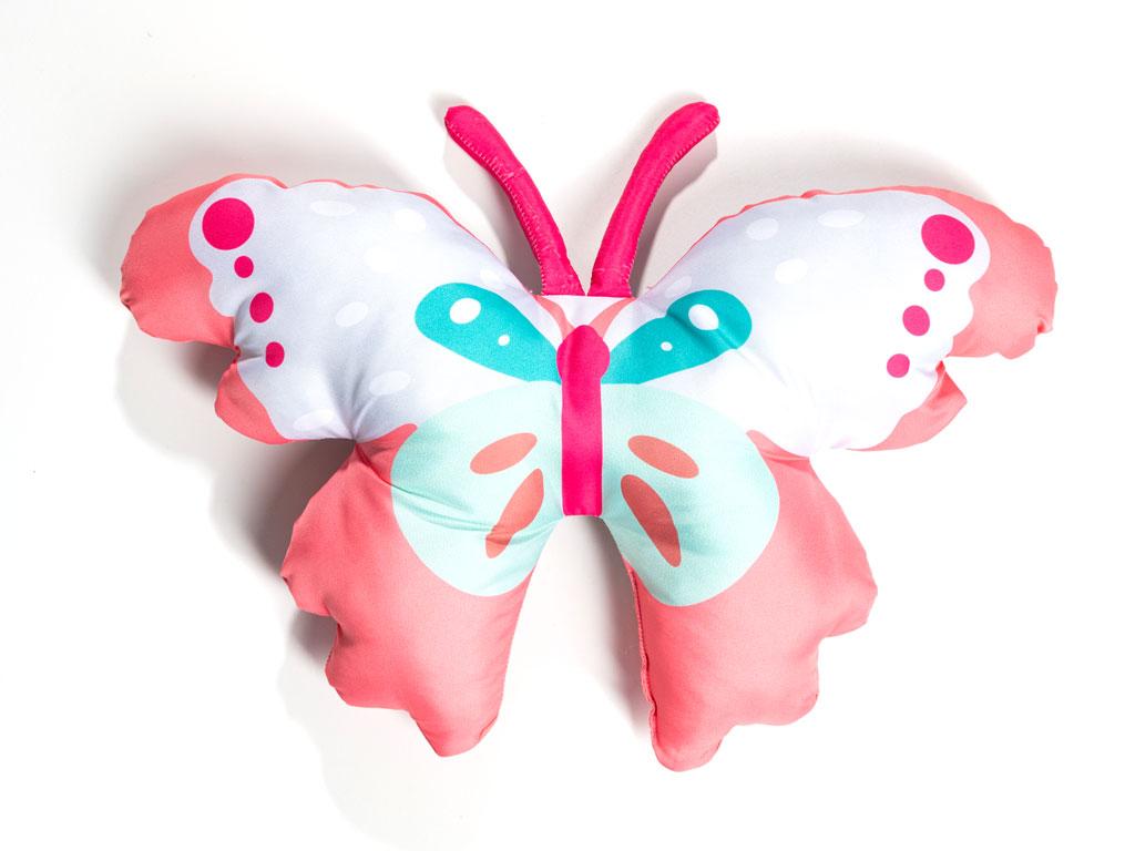 Butterflys Polyester Kelebek Dekoratıf Yastık 35x45 Cm Pembe