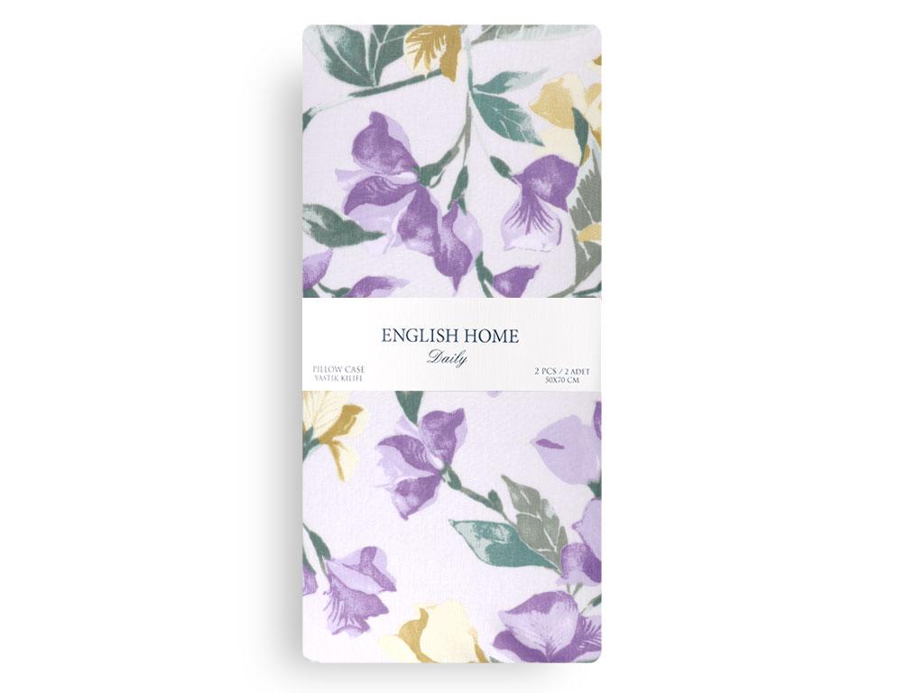 Iris Flower Pamuklu 2'li Yastık Kılıfı 50x70 Cm Mor