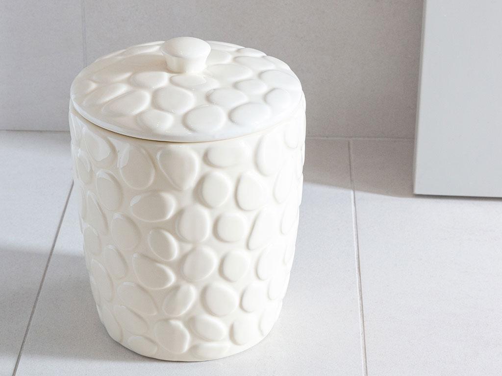 Stone Seramik Banyo Çöp Kovası 19x19x26 Cm Bej