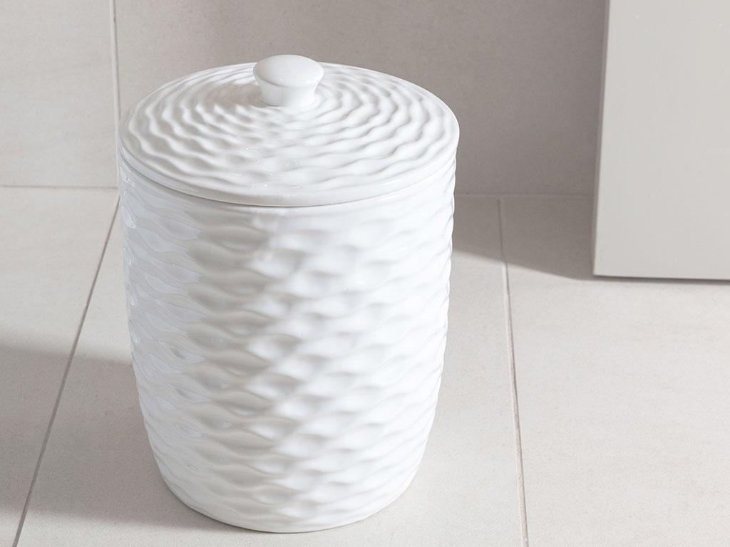 Sea Waves Seramik Banyo Çöp Kovası 19x19x26 Cm Beyaz