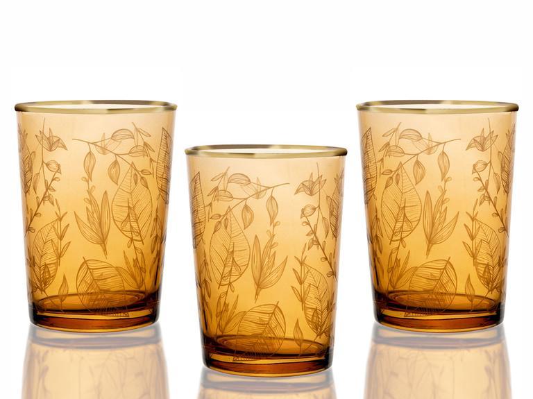 Paisley Cam 3'lü Meşrubat Bardağı 500 Ml Amber