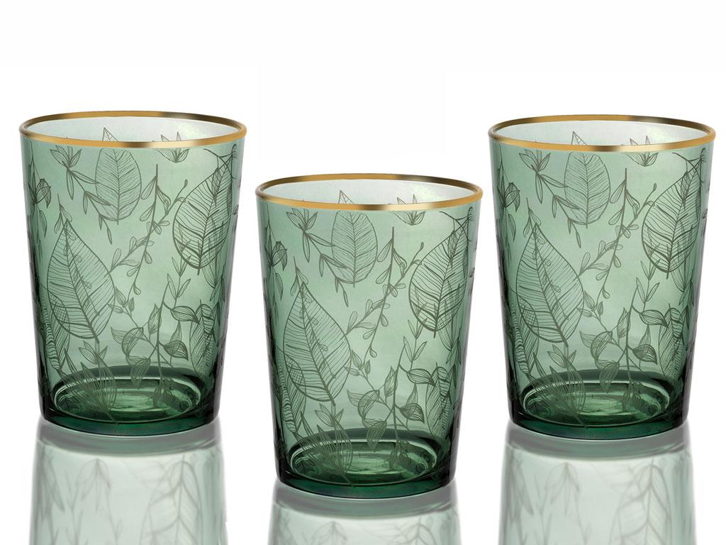 Paisley Cam 3'lü Meşrubat Bardağı 500 Ml Yeşil