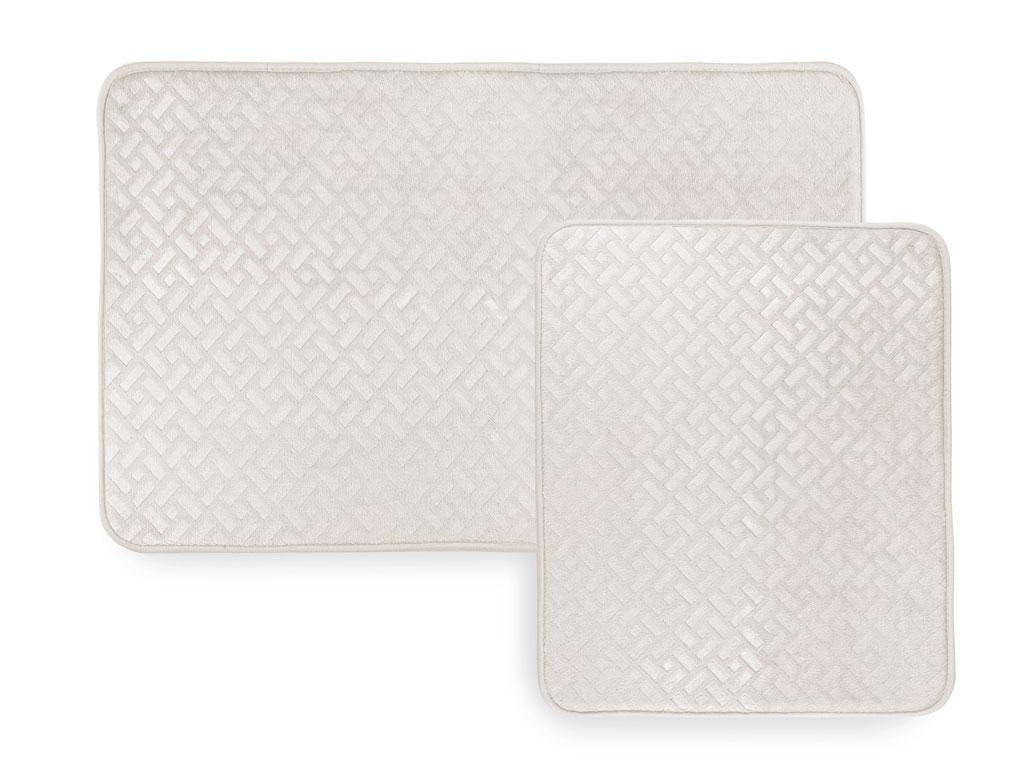 Stone Sıcak Baskı 2'li Klozet Setı 60x90 Cm + 50x60 Cm Açık Bej