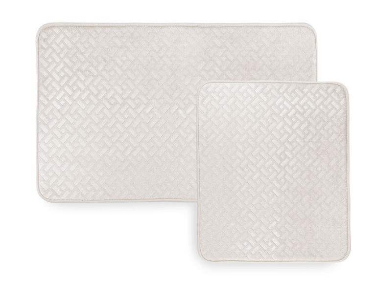 Stone Sıcak Baskı 2'li Banyo Paspası Seti 60x90 Cm + 50x60 Cm Açık Bej
