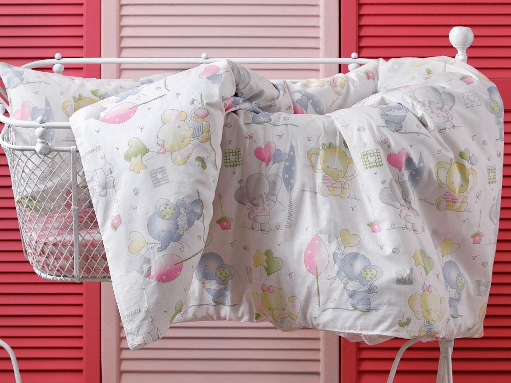 Little Elephants Pamuklu Bebe Nevresim Takımı 100x150 Cm Pembe