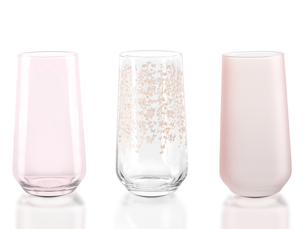 Sarmasik Cam 3'lü Meşrubat Bardağı 470 Ml Açık Pembe