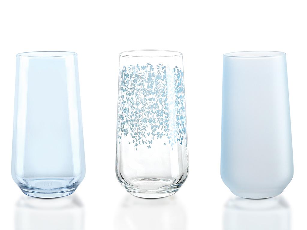 Sarmasik Cam 3'lü Meşrubat Bardağı 470 Ml Açık Seledon