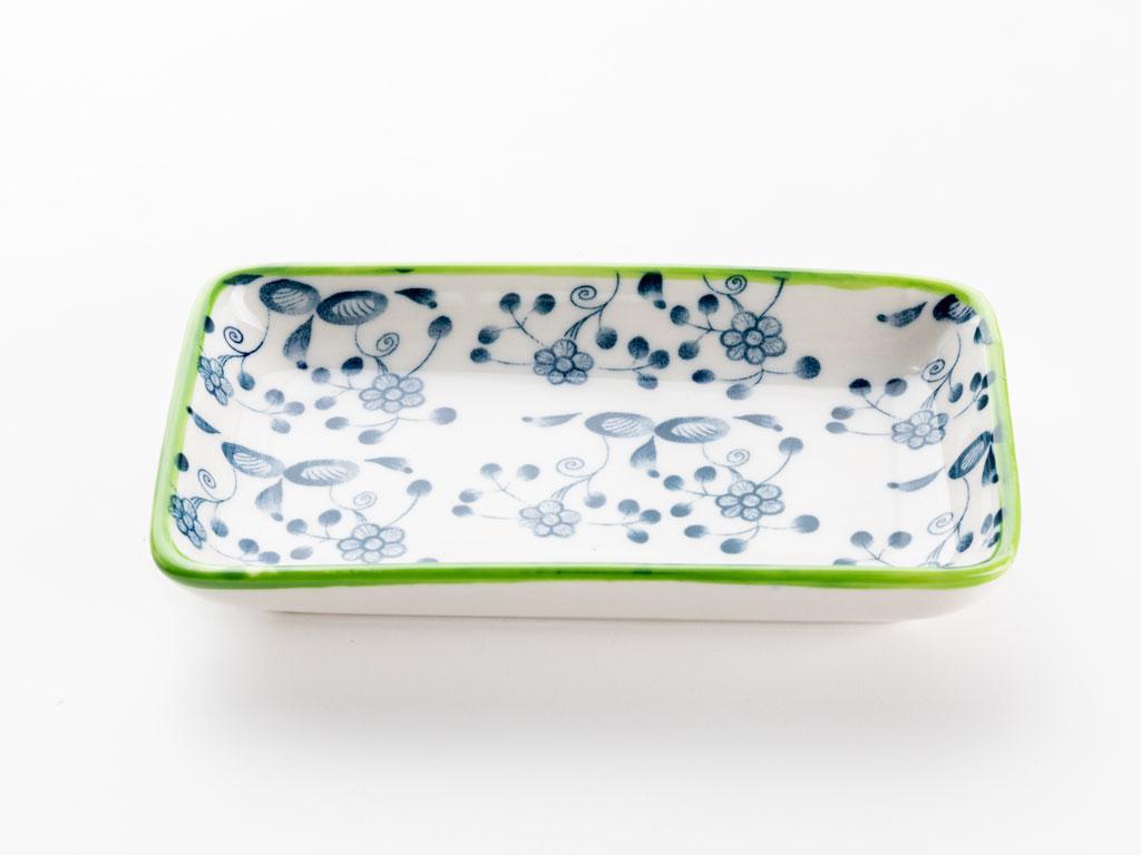 Lina Porselen Tekli Kayık Tabak 13 Cm Yeşil