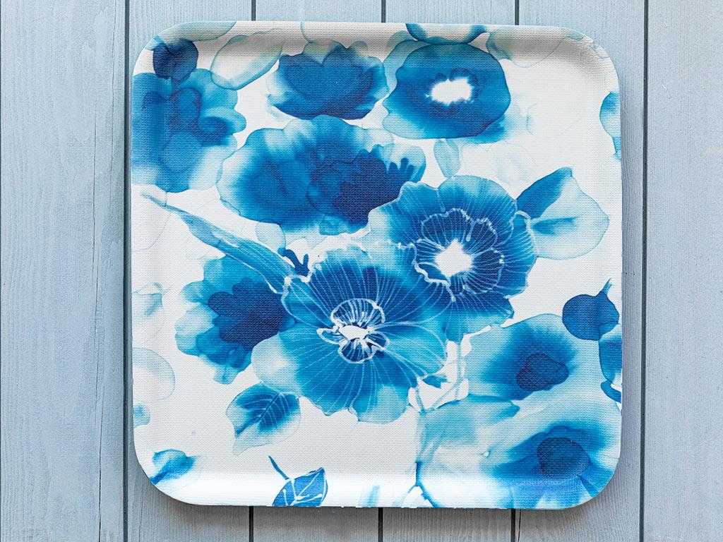 Blue Rose Melamin Kaydırmaz Tepsı 33x33 Cm