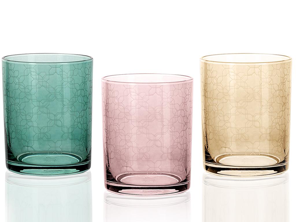 Petek Cam 3'lü Meşrubat Bardağı 250 Ml Renkli
