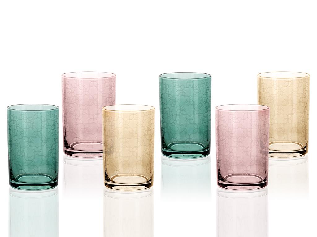 Petek Cam 6'lı Kahve Yanı Su Bardağı 150 Ml Renkli