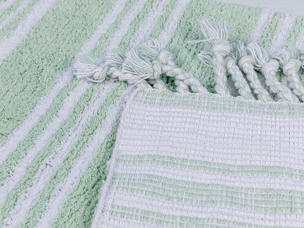 Lilia Pamuklu Kaydırmaz Taban Banyo Paspası 60x90 Cm Açık Yeşil