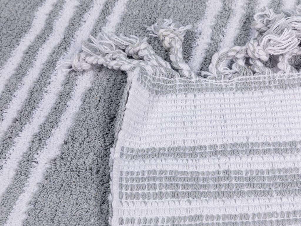 Lilia Pamuklu Kaydırmaz Taban Banyo Paspası 60x90 Cm Gri