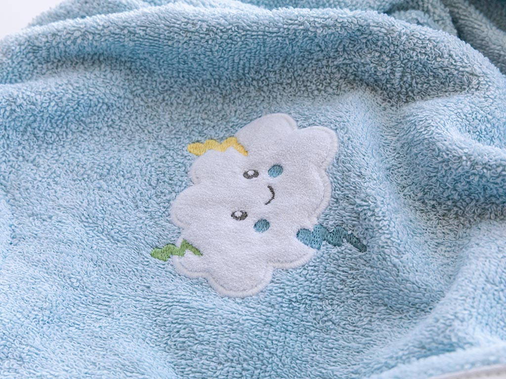 Sweet Clouds Pamuklu Çocuk Bornoz 4-6 Yaş Seledon