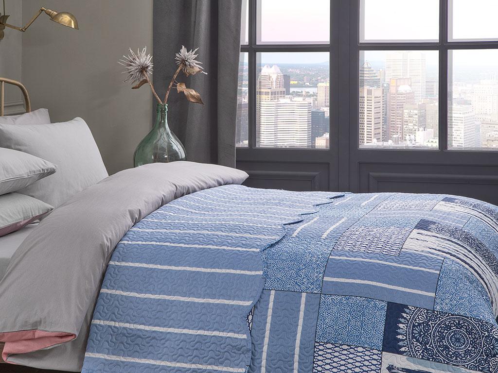 Mandala Patchwork Çift Kişilik Çok Amaçlı Yatak Örtüsü 200x220 Cm Mavi