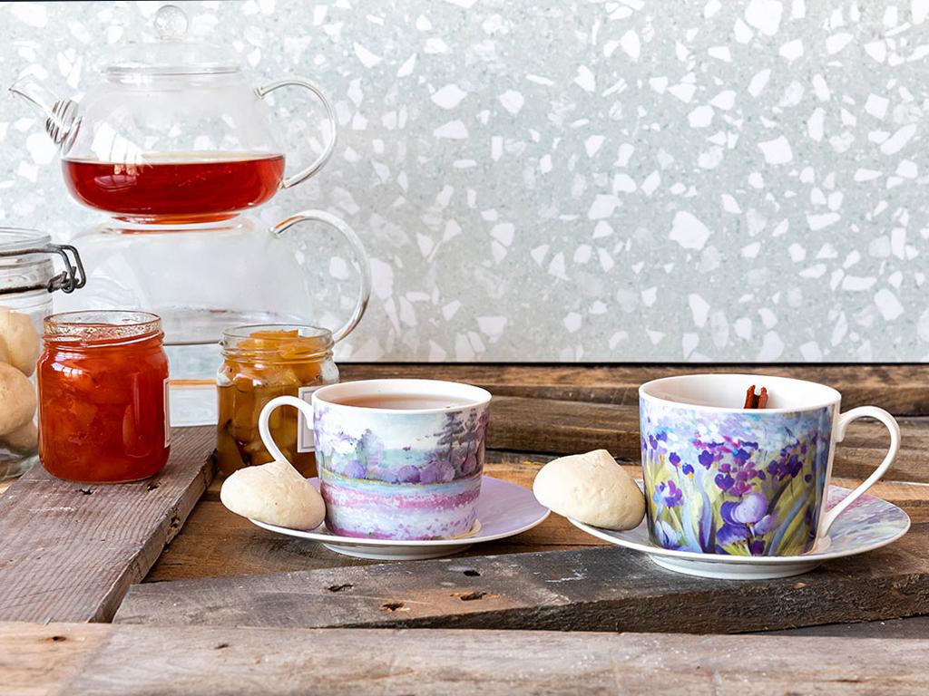 İris Porselen 4 Parça Çay Fincanı Takımı 200 Ml Mor - Lila