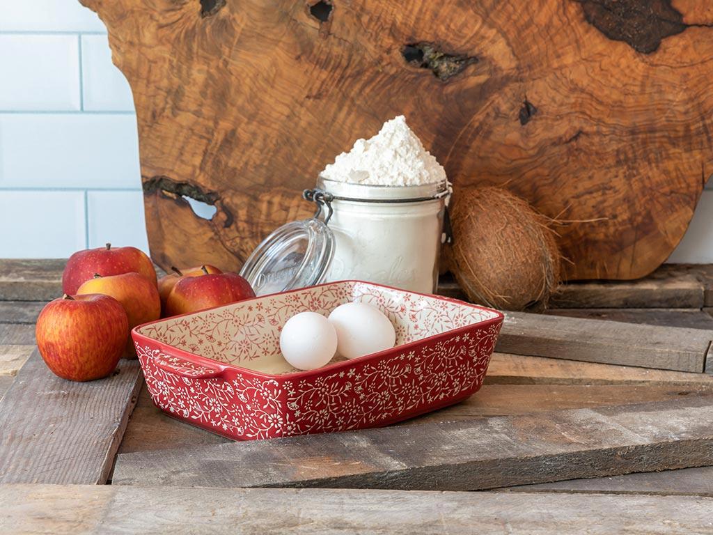 Liberty Porselen Dikdörtgen Büyük Fırın Kabı 27,5 cm Kırmızı - Beyaz
