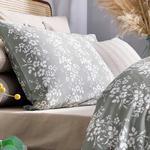 Folk Floral Pamuk Saten King Size Nevresim Takımı 240x220 Cm Adaçayı Yeşili