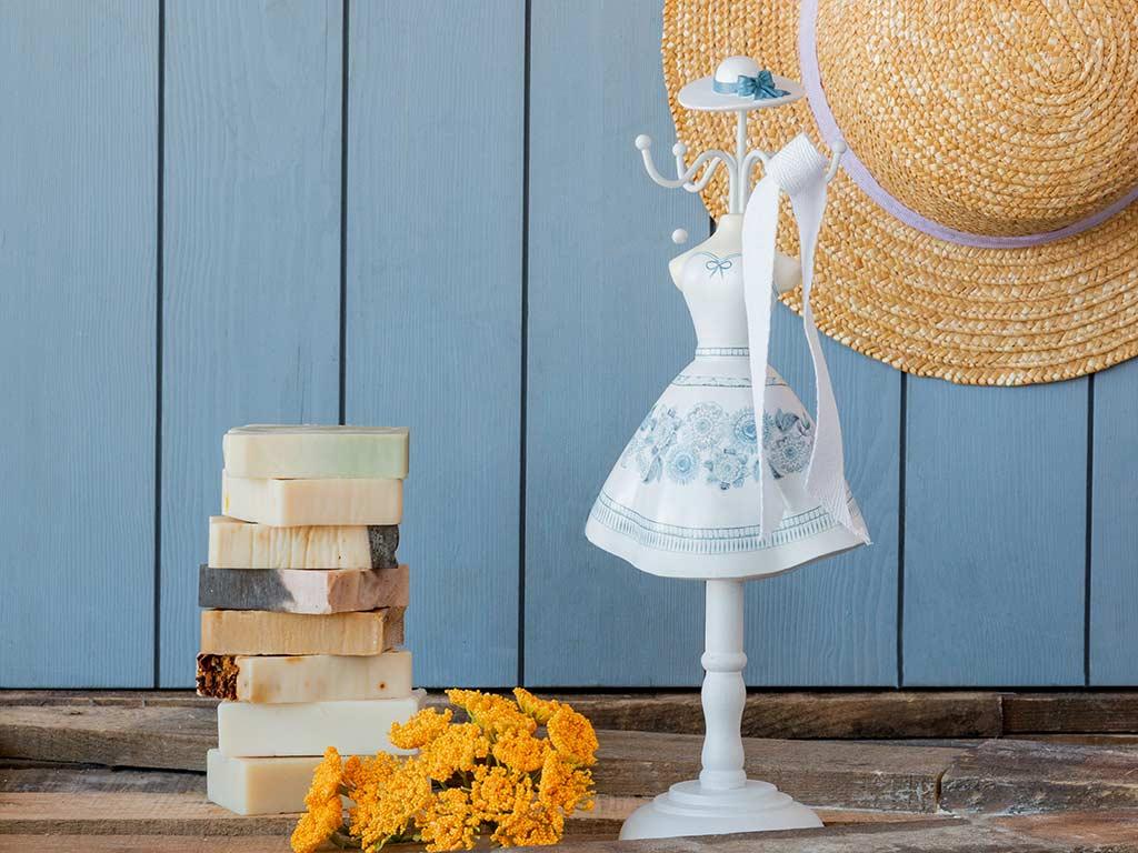 Folk Floral Takılık 12x8,5x32 Cm Beyaz - Mavi