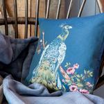 Peacock Goblen Kırlent Kılıfı 45x45 Cm Mavi