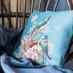Bird Cherry Goblen Kırlent 45x45 Cm Mavi