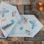 Butterfly Goblen Runner 30x110 Cm Açık Mavi