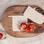 Modest Desenli 2'li Mutfak Setı 20x20 - 19x30 Cm Bej
